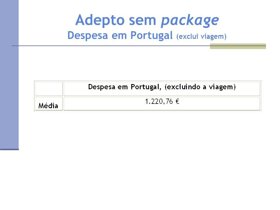 Adepto sem package Despesa em Portugal (exclui viagem)