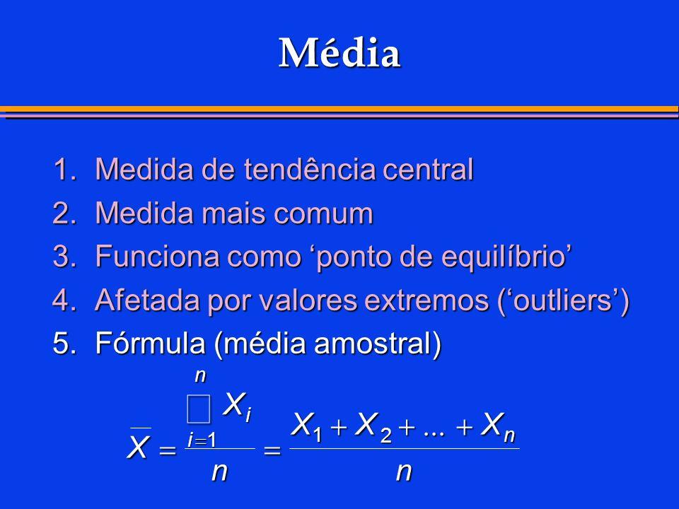 Média 1.Medida de tendência central 2.Medida mais comum 3.Funciona como ponto de equilíbrio 4.Afetada por valores extremos (outliers) 5. Fórmula (médi