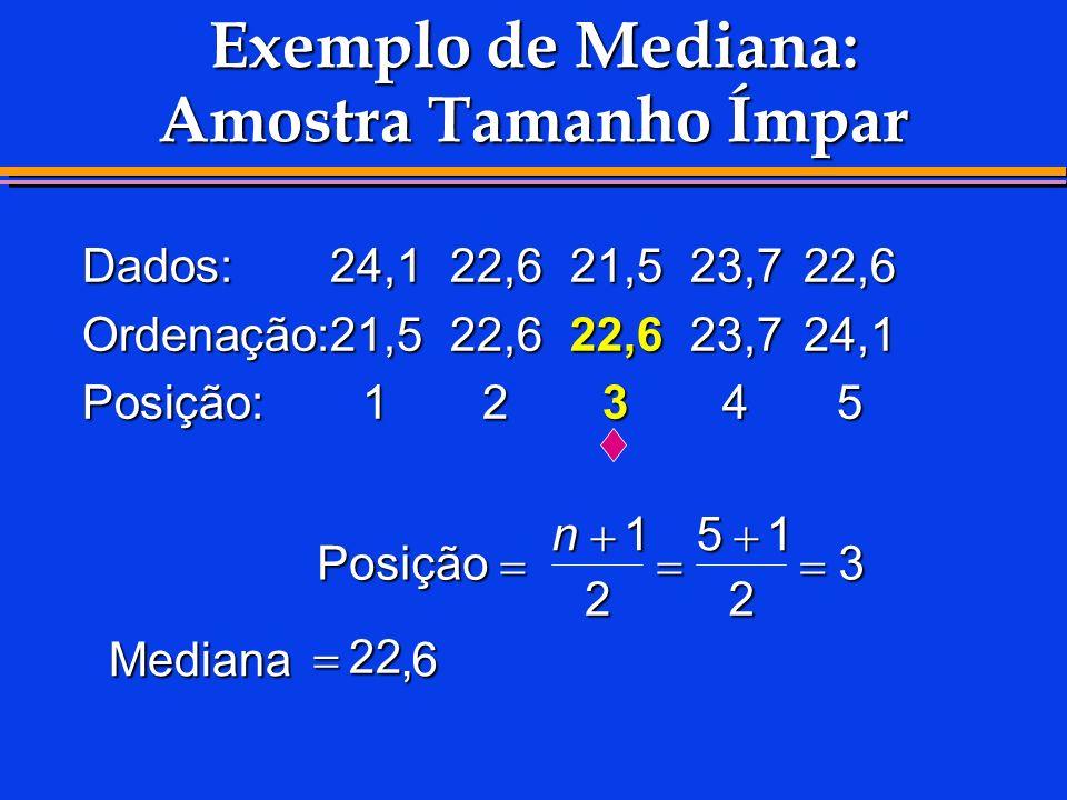 Exemplo de Mediana: Amostra Tamanho Ímpar Dados:24,122,621,523,722,6 Ordenação:21,522,622,623,724,1 Posição:12345 Posição Posição Mediana n1 2 51 2 3