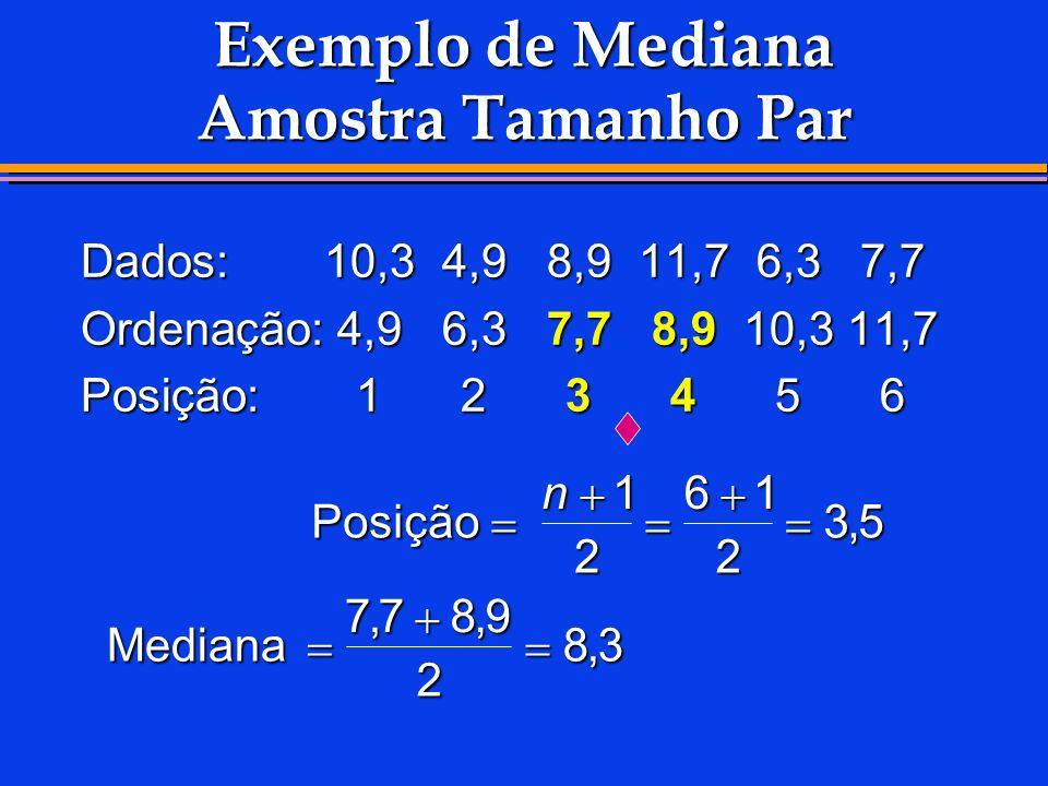 Exemplo de Mediana Amostra Tamanho Par Dados:10,34,98,911,76,37,7 Ordenação:4,96,37,78,910,311,7 Posição:123456 Posição Posição Mediana n1 2 61 2 35 7