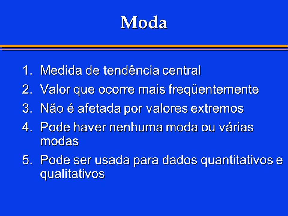 Moda 1.Medida de tendência central 2.Valor que ocorre mais freqüentemente 3.Não é afetada por valores extremos 4.Pode haver nenhuma moda ou várias mod