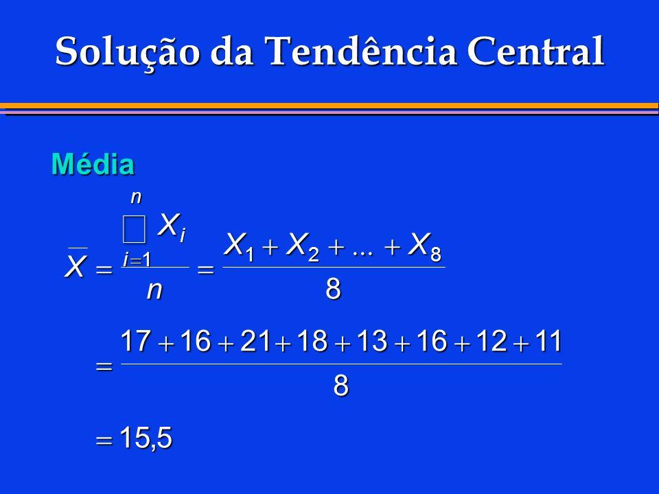 Solução da Tendência Central Média X X n XXX i i n 1 128 8 1716211813161211 8 155,