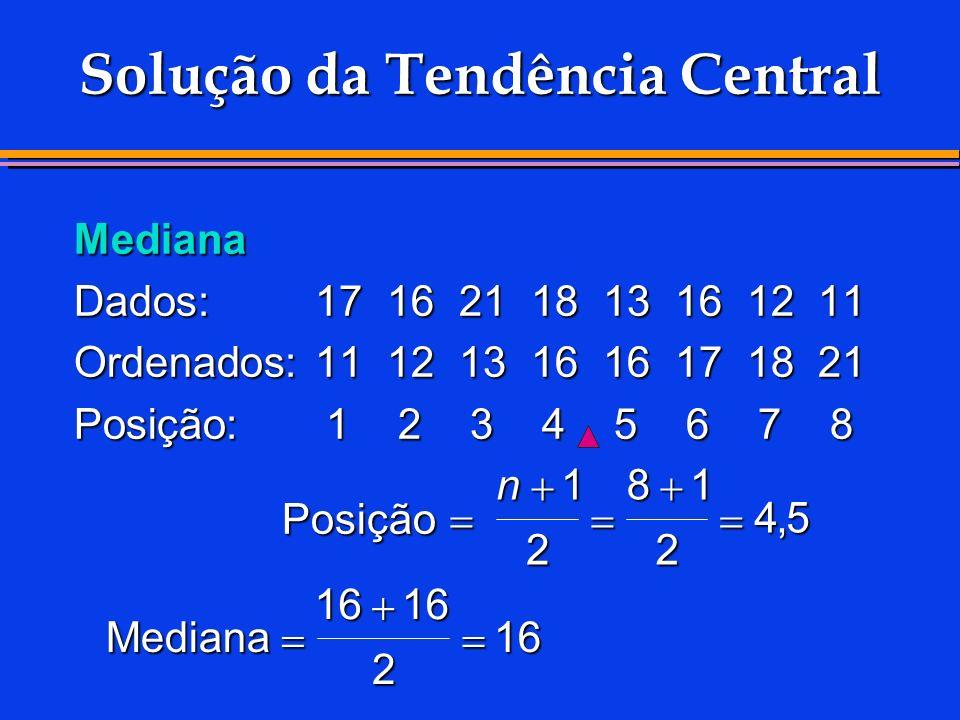 Solução da Tendência Central Mediana Dados:1716211813161211 Ordenados:1112131616171821 Posição:12345678 Posição Mediana n1 2 81 2 45 1616 2 16,
