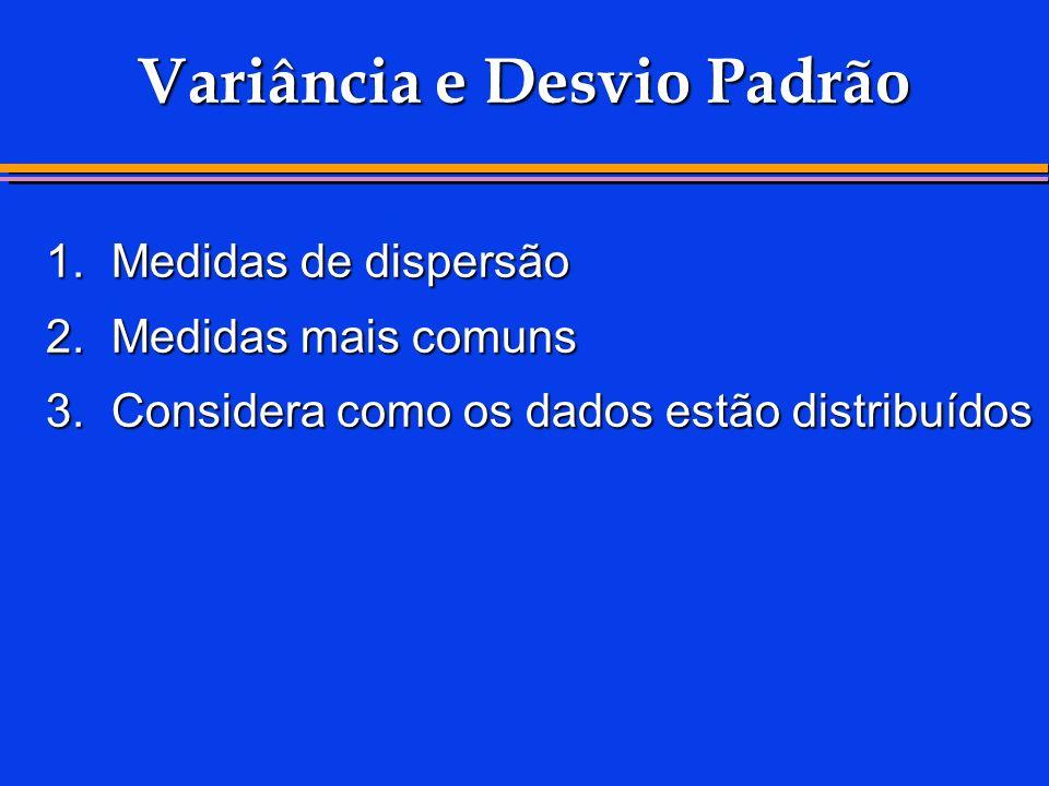 Variância e Desvio Padrão 1.Medidas de dispersão 2.Medidas mais comuns 3.Considera como os dados estão distribuídos