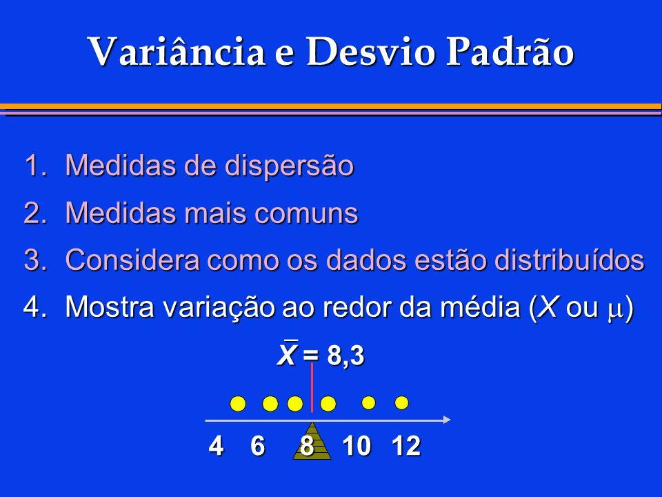 Variância e Desvio Padrão 1.Medidas de dispersão 2.Medidas mais comuns 3.Considera como os dados estão distribuídos 4.Mostra variação ao redor da médi