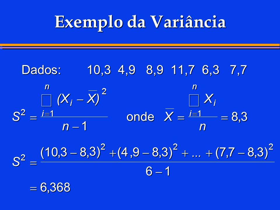 Exemplo da Variância Dados:10,34,98,911,76,37,7 S (XX) n X X n S i i n i i n 2 2 11 2 222 1 83 (1038 3) (4983)(7783) 61 6368 onde,,,,,,,,