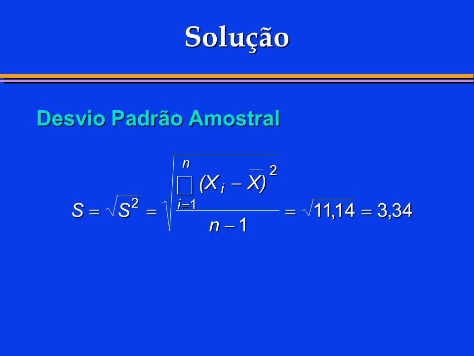 Solução Desvio Padrão Amostral SS (XX) n i i n 2 2 1 1 1114334,,