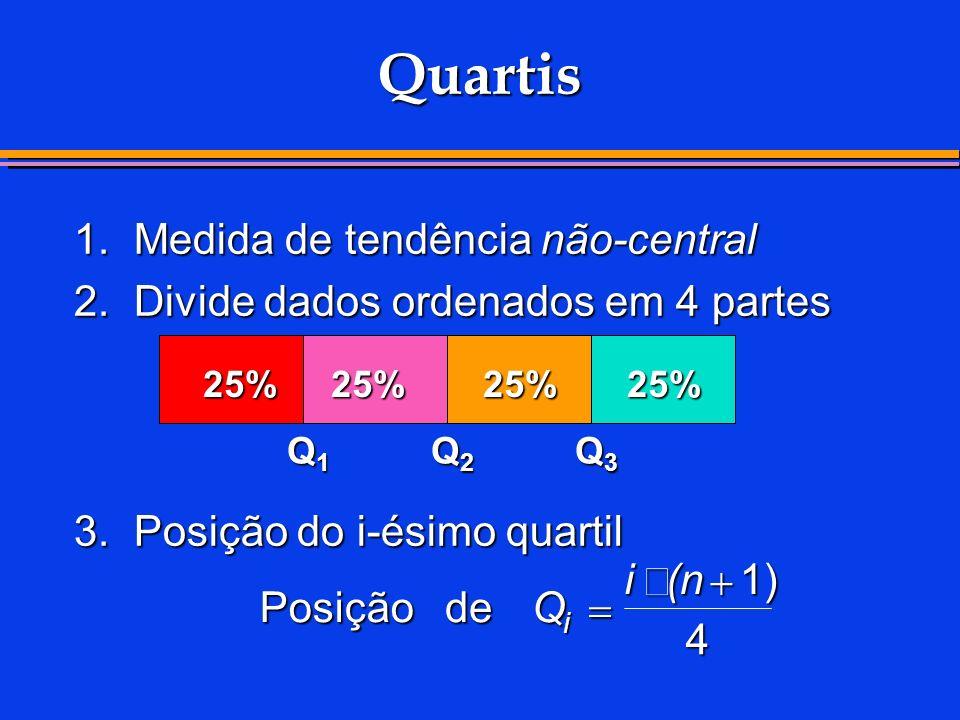 Quartis 1.Medida de tendência não-central 2.Divide dados ordenados em 4 partes 3.Posição do i-ésimo quartil 25%25%25%25% Q1Q1Q1Q1 Q2Q2Q2Q2 Q3Q3Q3Q3 Po