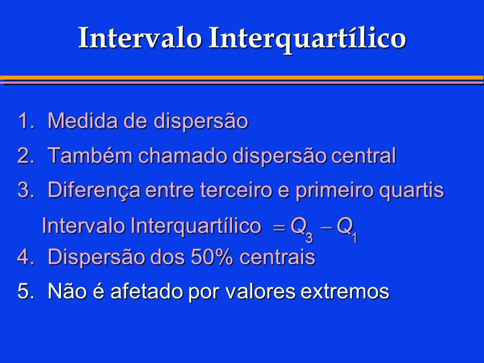 Intervalo Interquartílico 1.Medida de dispersão 2.Também chamado dispersão central 3.Diferença entre terceiro e primeiro quartis 4.Dispersão dos 50% c