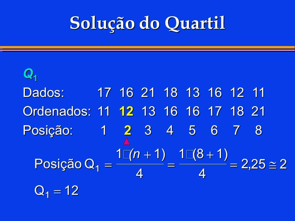 Q 1 Dados:1716211813161211 Ordenados:1112131616171821 Posição:1 2 345678 Solução do Quartil Posição Q Q 1 11) 4 1(81) 4 2 25 2 12 1 (n,