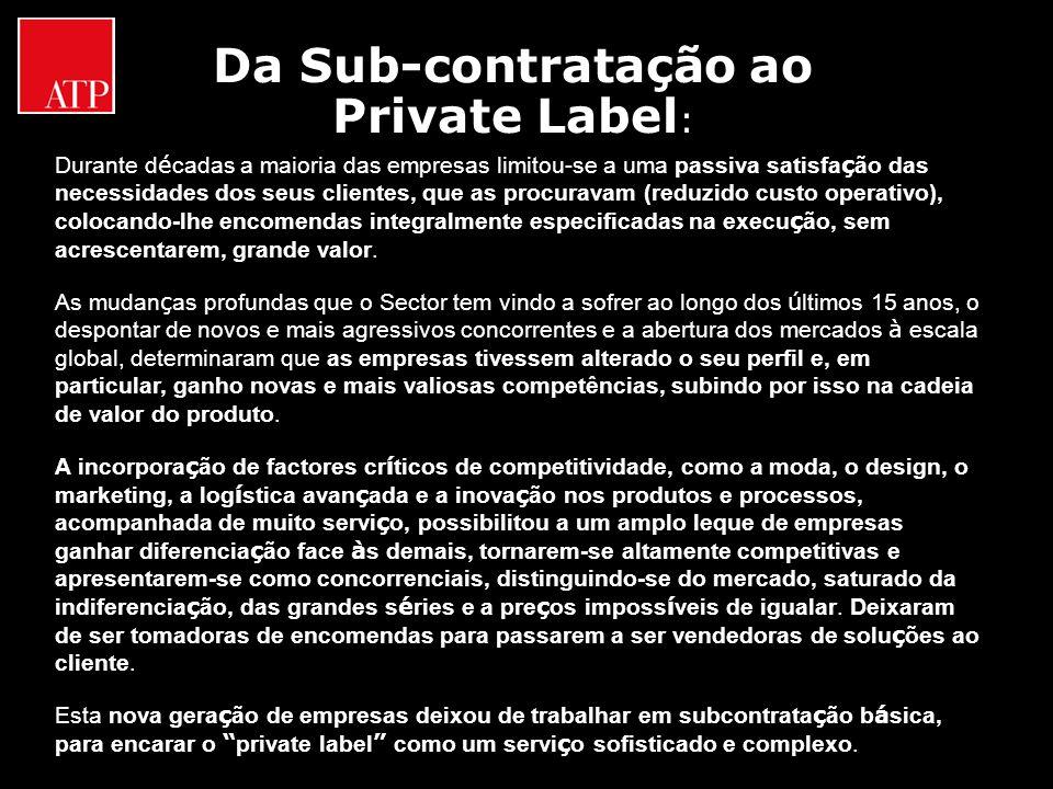 Da Sub-contratação ao Private Label : Durante d é cadas a maioria das empresas limitou-se a uma passiva satisfa ç ão das necessidades dos seus cliente