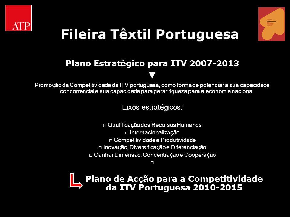 Fileira Têxtil Portuguesa Plano Estratégico para ITV 2007-2013 Promo ç ão da Competitividade da ITV portuguesa, como forma de potenciar a sua capacida
