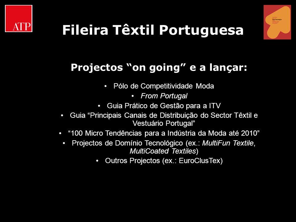 Projectos on going e a lançar: Pólo de Competitividade Moda From Portugal Guia Prático de Gestão para a ITV Guia Principais Canais de Distribuição do