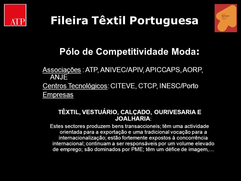 Pólo de Competitividade Moda : Associações : ATP, ANIVEC/APIV, APICCAPS, AORP, ANJE Centros Tecnológicos: CITEVE, CTCP, INESC/Porto Empresas TÊXTIL, V