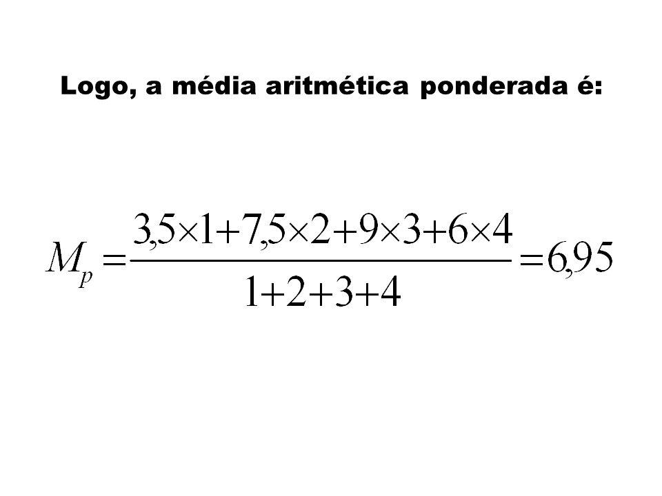 Média Aritmética Ponderada Suponha que, em cada bimestre, os pesos sejam: 1º bimestre: Peso 1 2º bimestre: Peso 2 3º bimestre: peso 3 4º bimestre: pes