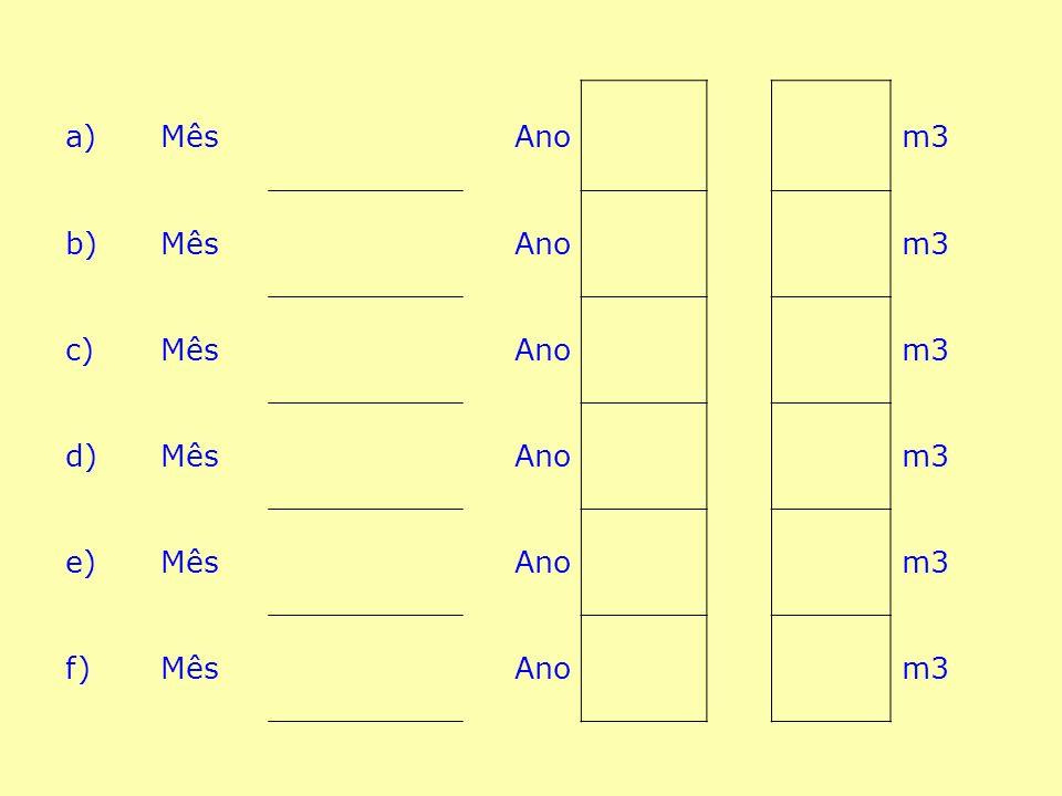 6) 6) Consultando os últimos 6 recibos da Água , (ou os que tiver) indique: os meses dos recibos e os respectivos consumos.
