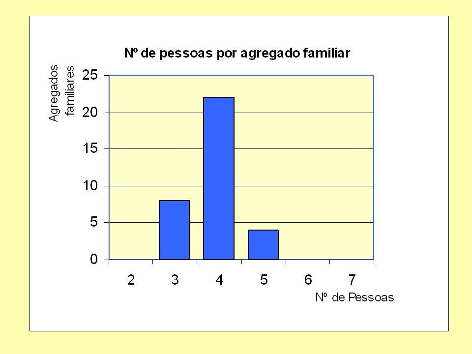 Cerca de dois terços dos agregados familiares têm 4 pessoas. Os agregados familiares com 3 pessoas (filho único ? ) são o dobro dos que têm 5 pessoas