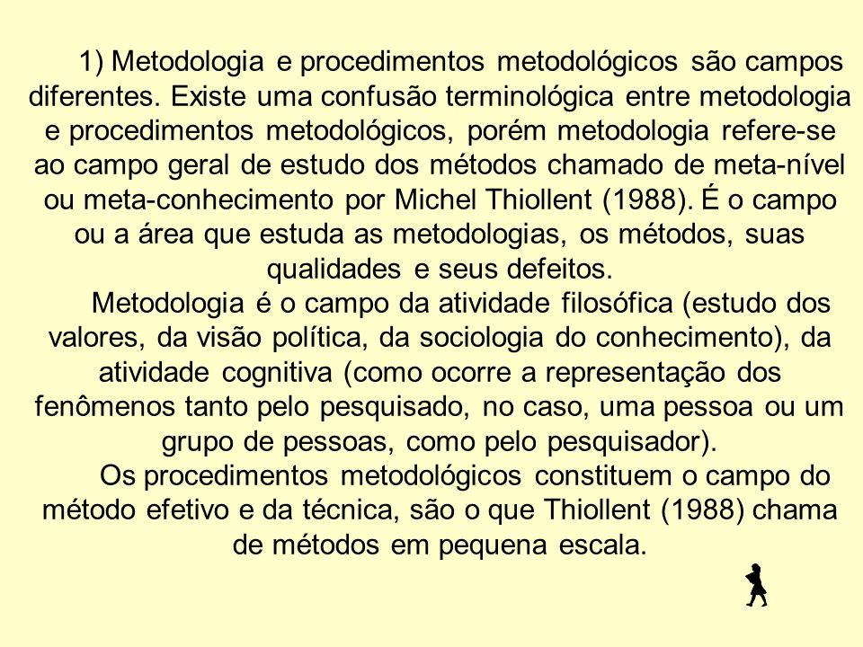 1) Metodologia e procedimentos metodológicos são campos diferentes.