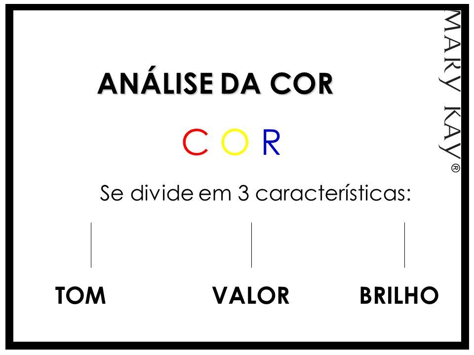 ANÁLISE DA COR Se divide em 3 características: TOMVALORBRILHO C O RC O R ®