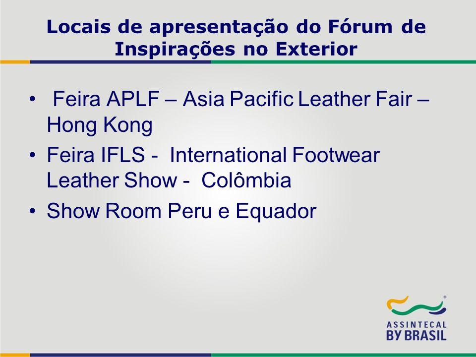 Locais de apresentação do Fórum de Inspirações no Exterior Feira APLF – Asia Pacific Leather Fair – Hong Kong Feira IFLS - International Footwear Leat