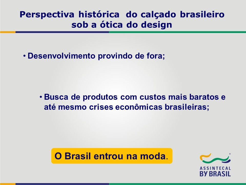 Perspectiva histórica do calçado brasileiro sob a ótica do design Desenvolvimento provindo de fora; Busca de produtos com custos mais baratos e até me