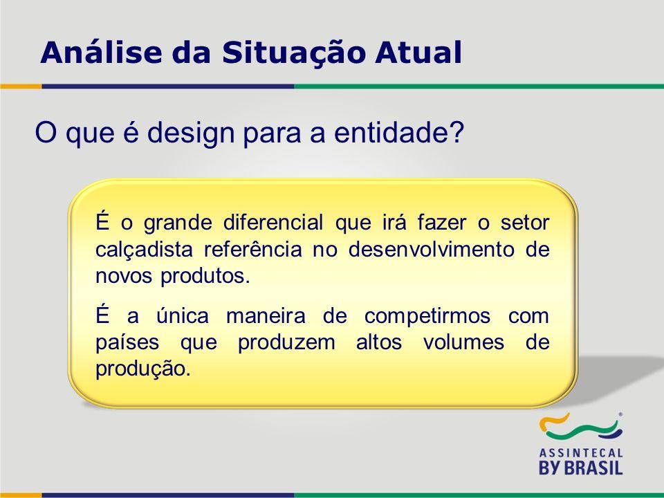 Análise da Situação Atual O que é design para a entidade? É o grande diferencial que irá fazer o setor calçadista referência no desenvolvimento de nov