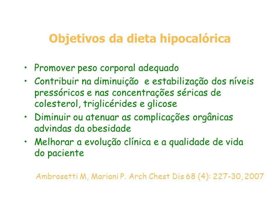 Objetivos da dieta hipocalórica Promover peso corporal adequado Contribuir na diminuição e estabilização dos níveis pressóricos e nas concentrações sé