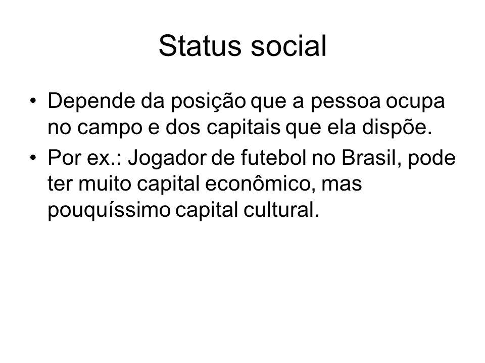 Status social Depende da posição que a pessoa ocupa no campo e dos capitais que ela dispõe. Por ex.: Jogador de futebol no Brasil, pode ter muito capi