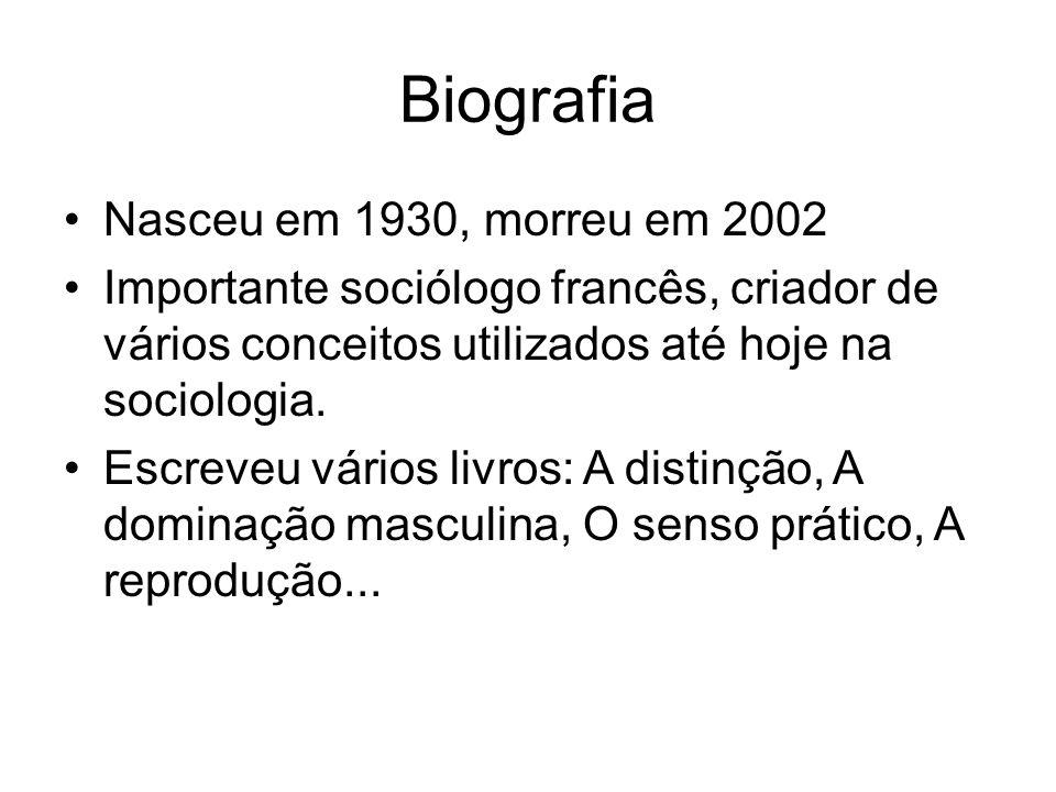 Biografia Nasceu em 1930, morreu em 2002 Importante sociólogo francês, criador de vários conceitos utilizados até hoje na sociologia. Escreveu vários