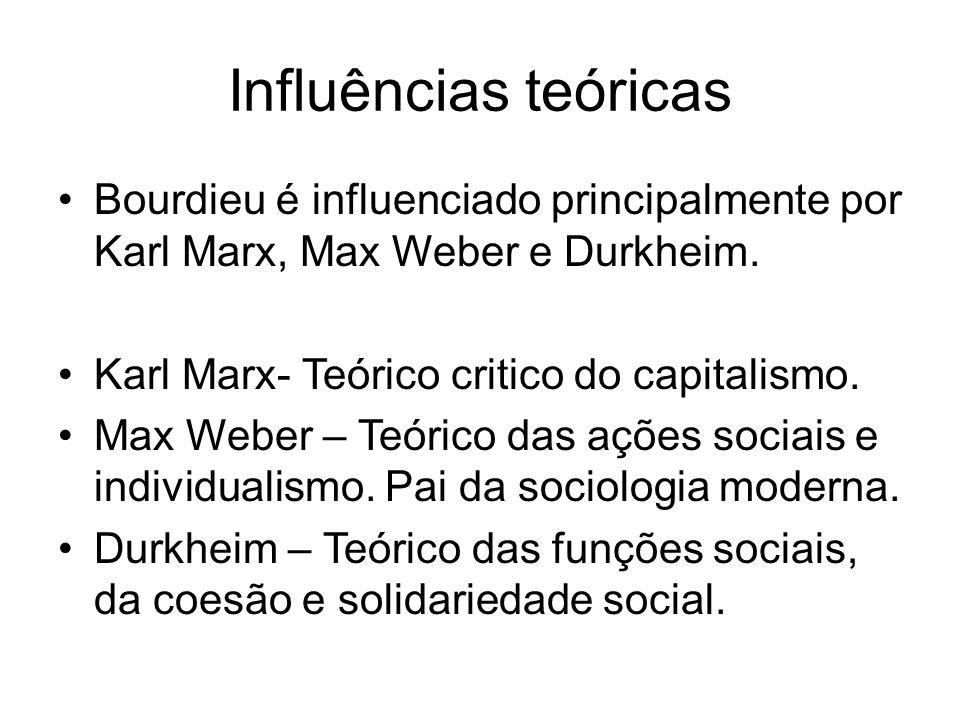 Influências teóricas Bourdieu é influenciado principalmente por Karl Marx, Max Weber e Durkheim. Karl Marx- Teórico critico do capitalismo. Max Weber