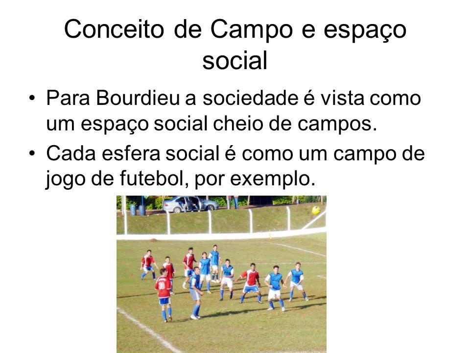 Conceito de Campo e espaço social Para Bourdieu a sociedade é vista como um espaço social cheio de campos. Cada esfera social é como um campo de jogo