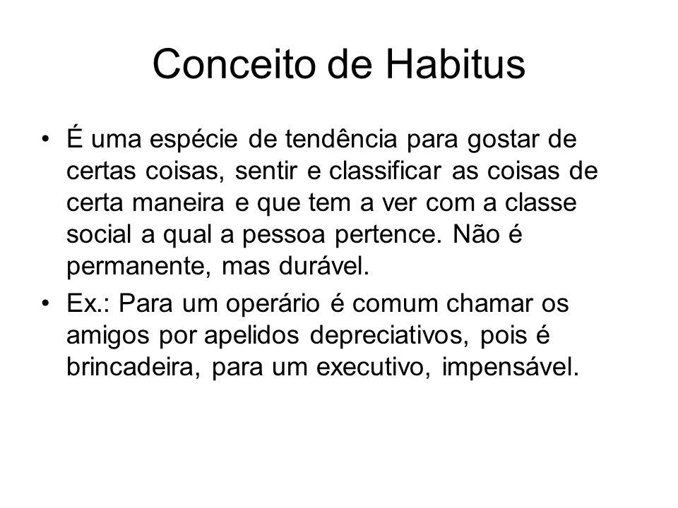 Conceito de Habitus É uma espécie de tendência para gostar de certas coisas, sentir e classificar as coisas de certa maneira e que tem a ver com a cla