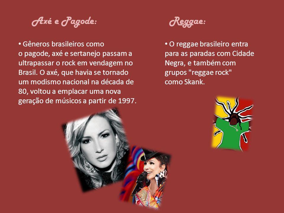Axé e Pagode: Gêneros brasileiros como o pagode, axé e sertanejo passam a ultrapassar o rock em vendagem no Brasil. O axé, que havia se tornado um mod