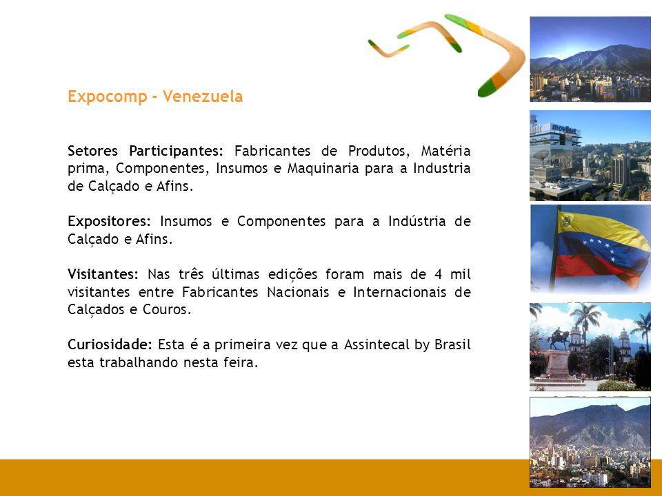 Expocomp - Venezuela Setores Participantes: Fabricantes de Produtos, Matéria prima, Componentes, Insumos e Maquinaria para a Industria de Calçado e Af