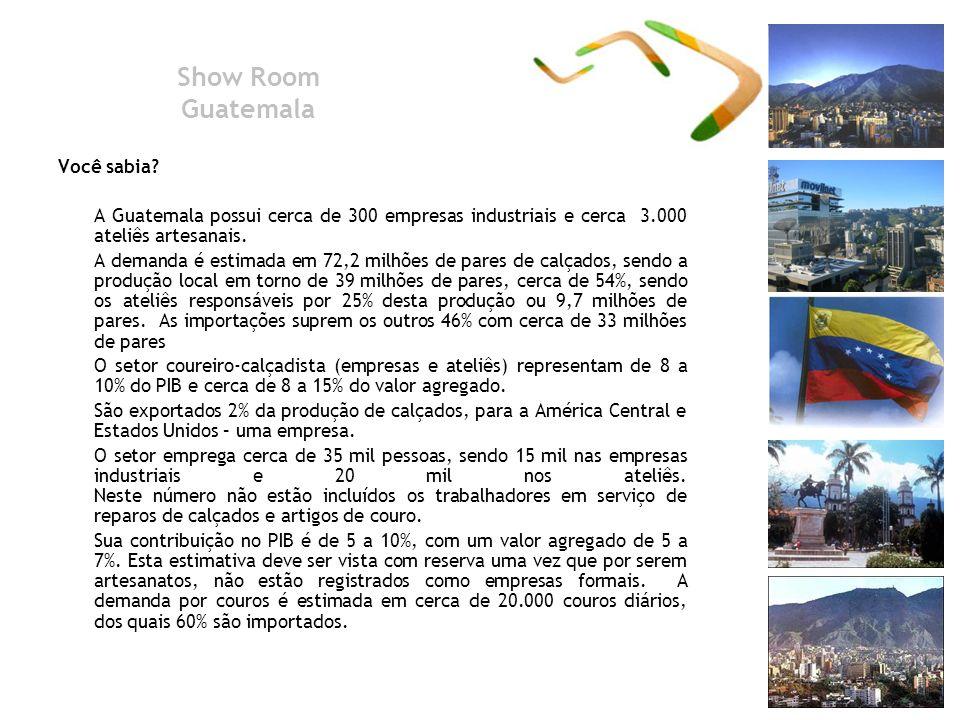 Show Room Guatemala Você sabia? A Guatemala possui cerca de 300 empresas industriais e cerca 3.000 ateliês artesanais. A demanda é estimada em 72,2 mi