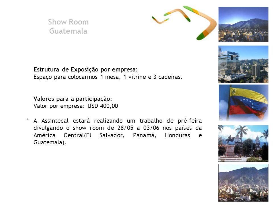 Show Room Guatemala Estrutura de Exposição por empresa: Espaço para colocarmos 1 mesa, 1 vitrine e 3 cadeiras. Valores para a participação: Valor por