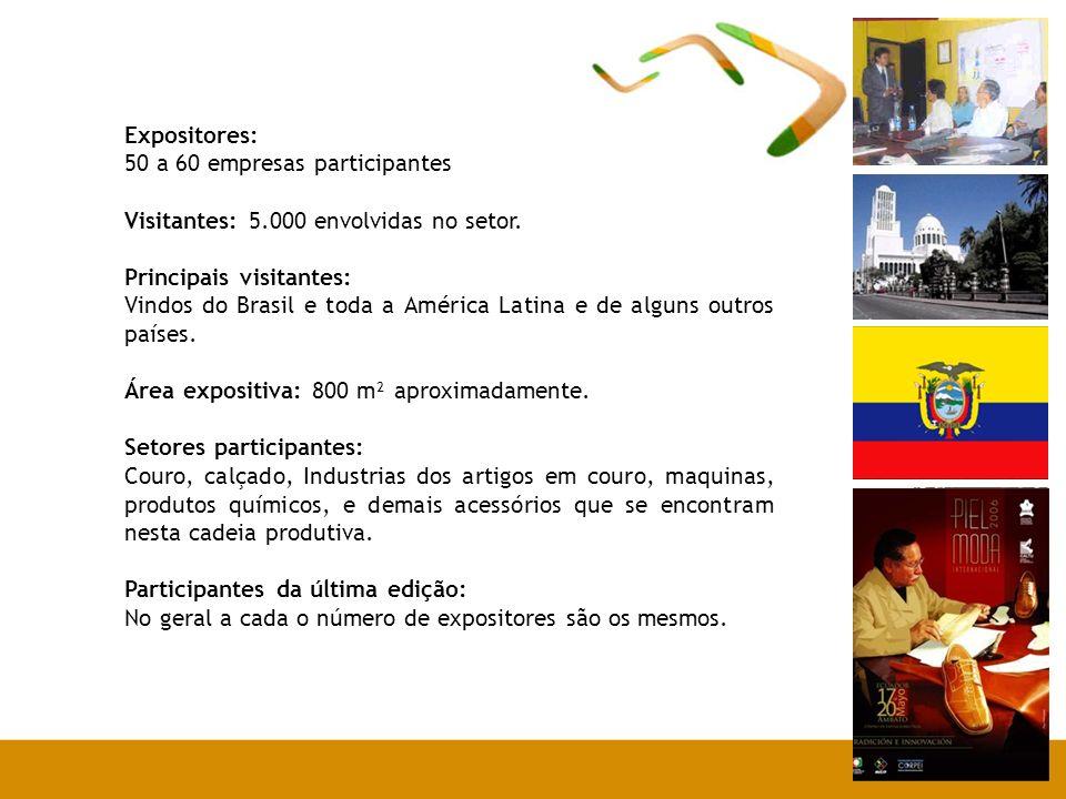 Expositores: 50 a 60 empresas participantes Visitantes: 5.000 envolvidas no setor.