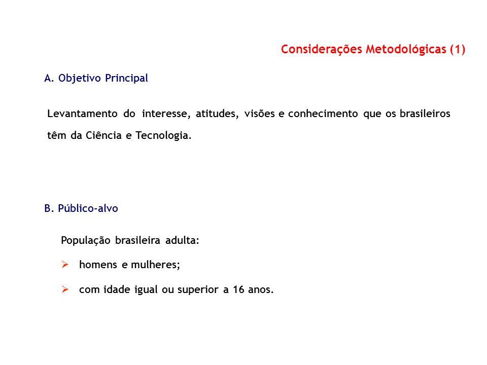 Considerações Metodológicas (1) A. Objetivo Principal Levantamento do interesse, atitudes, visões e conhecimento que os brasileiros têm da Ciência e T