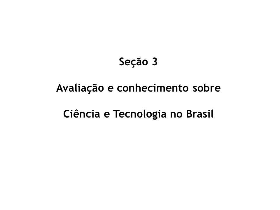 Seção 3 Avaliação e conhecimento sobre Ciência e Tecnologia no Brasil