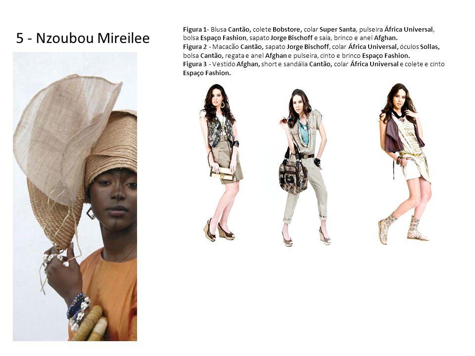 5 - Nzoubou Mireilee Figura 1- Blusa Cantão, colete Bobstore, colar Super Santa, pulseira África Universal, bolsa Espaço Fashion, sapato Jorge Bischoff e saia, brinco e anel Afghan.