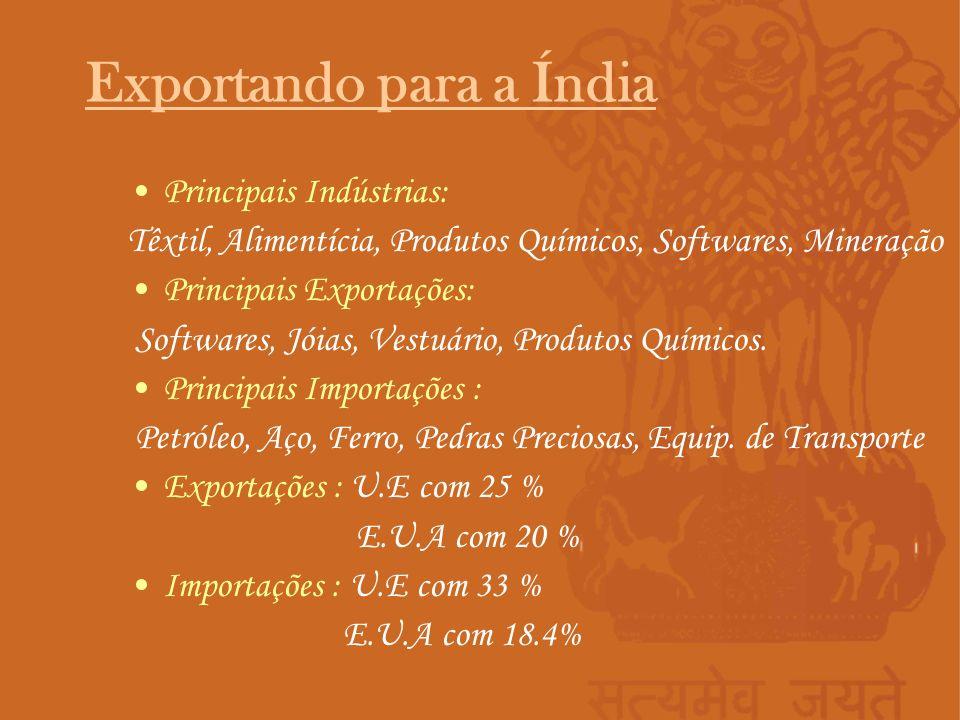 Principais Indústrias: Têxtil, Alimentícia, Produtos Químicos, Softwares, Mineração Principais Exportações: Softwares, Jóias, Vestuário, Produtos Quím