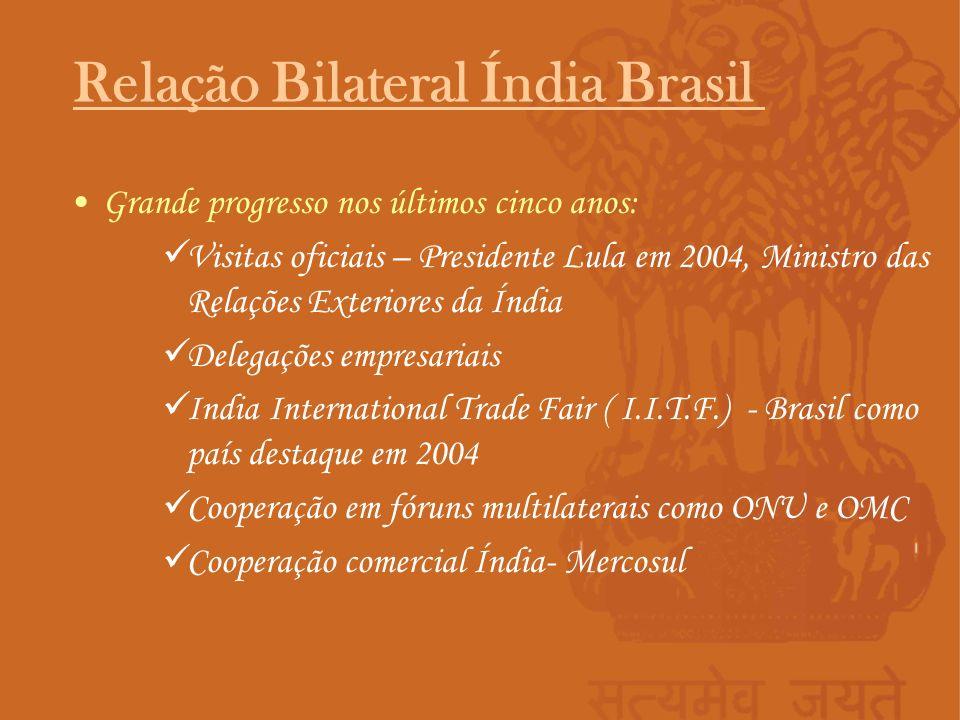 Grande progresso nos últimos cinco anos: Visitas oficiais – Presidente Lula em 2004, Ministro das Relações Exteriores da Índia Delegações empresariais