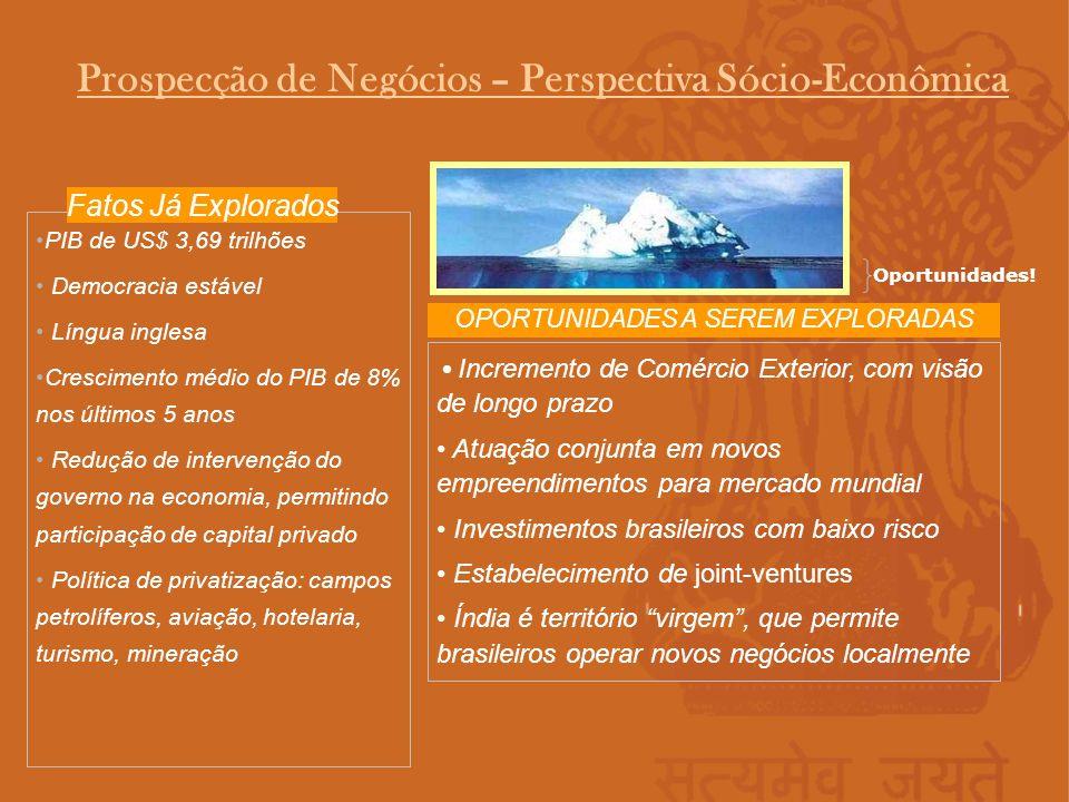 Prospecção de Negócios – Perspectiva Sócio-Econômica PIB de US$ 3,69 trilhões Democracia estável Língua inglesa Crescimento médio do PIB de 8% nos últ