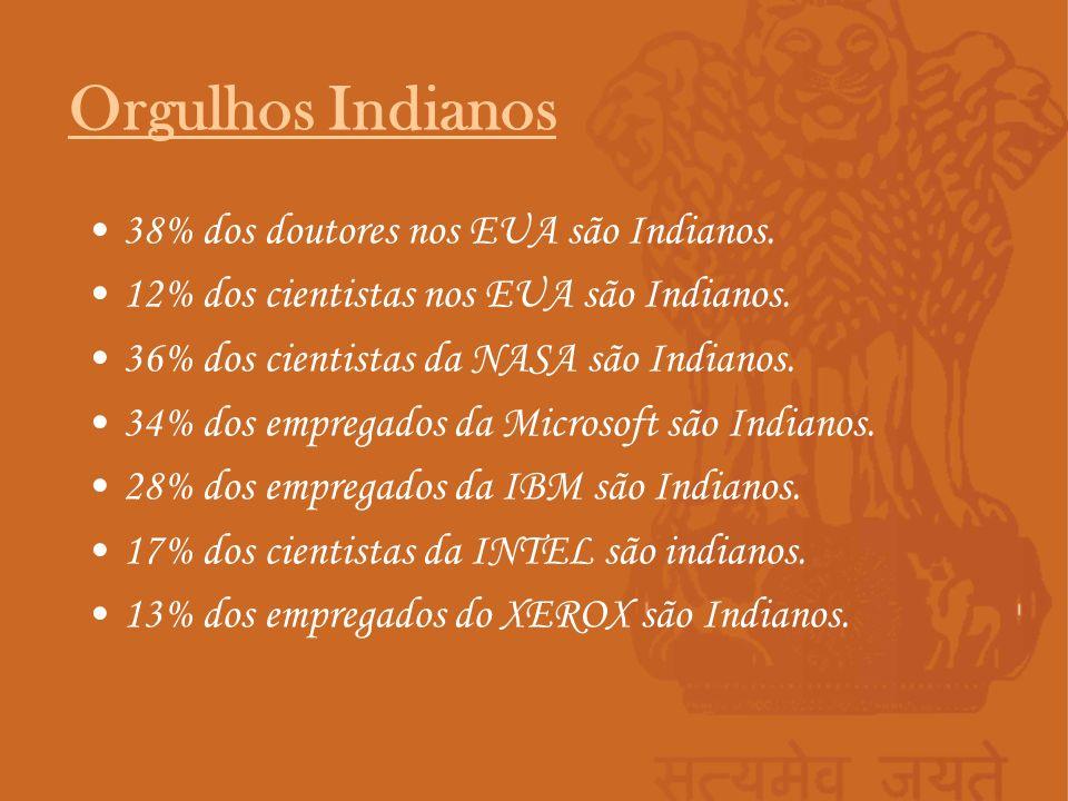 38% dos doutores nos EUA são Indianos. 12% dos cientistas nos EUA são Indianos. 36% dos cientistas da NASA são Indianos. 34% dos empregados da Microso