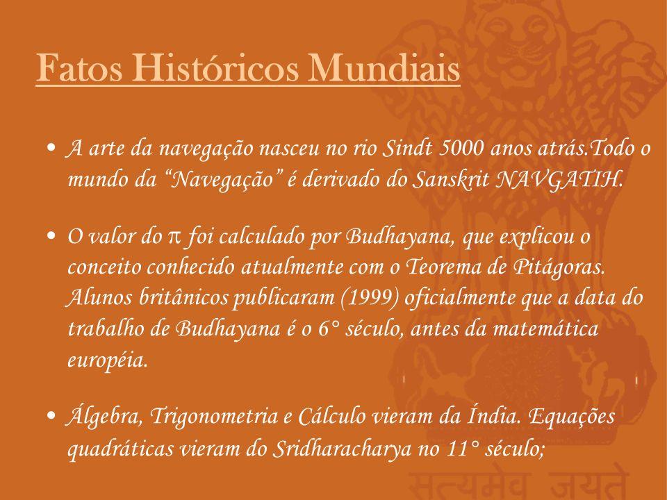 A arte da navegação nasceu no rio Sindt 5000 anos atrás.Todo o mundo da Navegação é derivado do Sanskrit NAVGATIH. O valor do foi calculado por Budhay