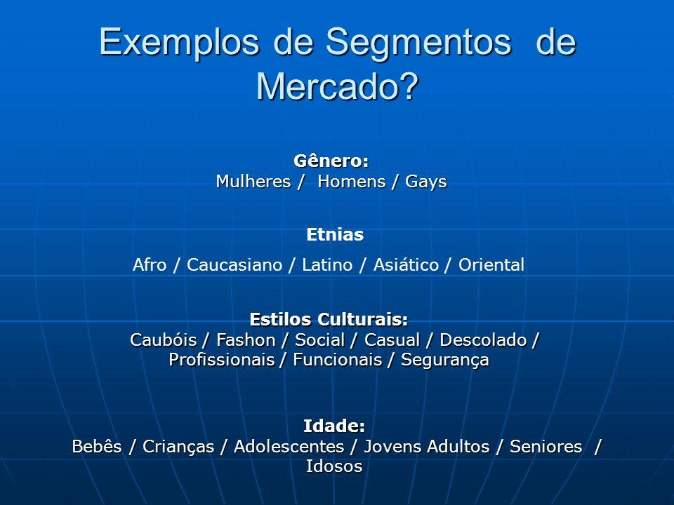 Exemplos de Segmentos de Mercado? Gênero: Mulheres / Homens / Gays Estilos Culturais: Caubóis / Fashon / Social / Casual / Descolado / Profissionais /
