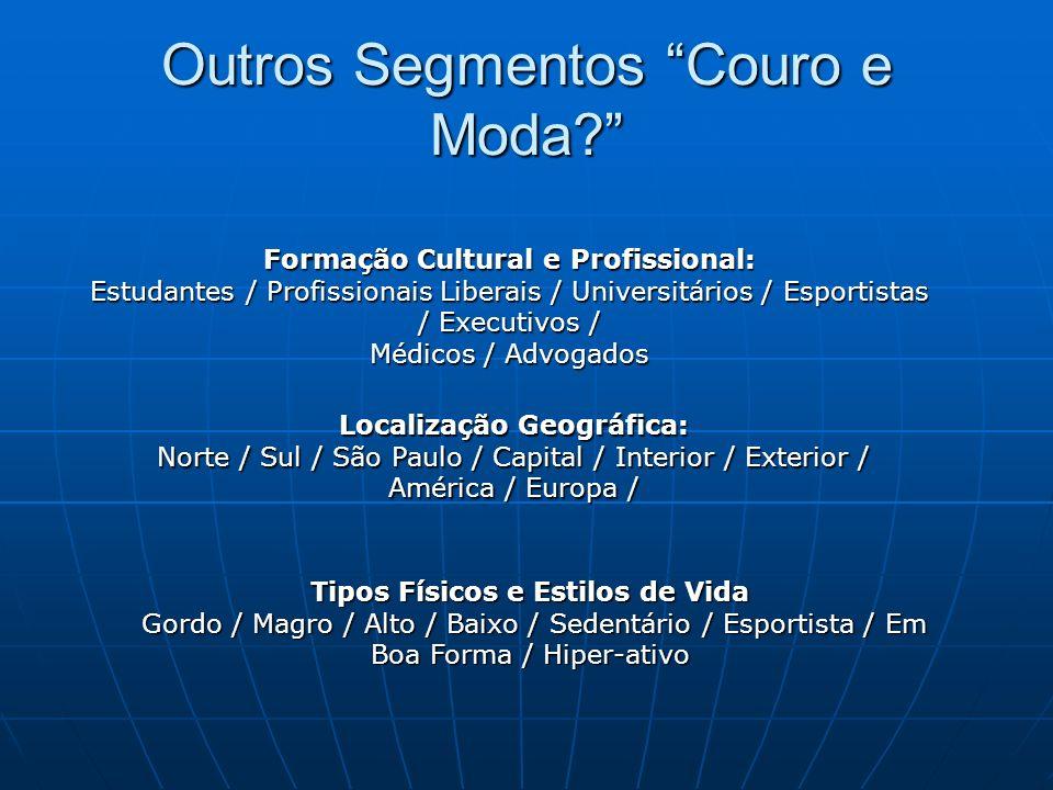 Outros Segmentos Couro e Moda? Formação Cultural e Profissional: Estudantes / Profissionais Liberais / Universitários / Esportistas / Executivos / Méd