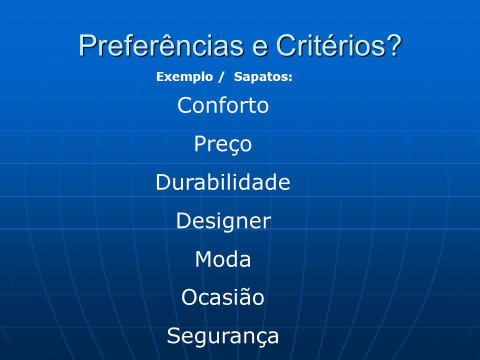 Preferências e Critérios? Exemplo / Sapatos: Conforto Preço Durabilidade Designer Moda Ocasião Segurança