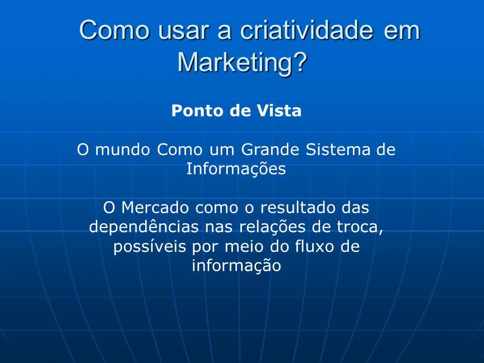 Como usar a criatividade em Marketing? Como usar a criatividade em Marketing? Ponto de Vista O mundo Como um Grande Sistema de Informações O Mercado c