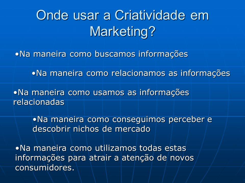 Onde usar a Criatividade em Marketing? Na maneira como buscamos informaçõesNa maneira como buscamos informações Na maneira como relacionamos as inform
